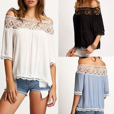 >> Click to Buy << New Fashion Sweet Women Off Shoulder Shirts Lace Solid Casual Loose Bishop Sleeve Top Blouse cheap White Blue  #Affiliate