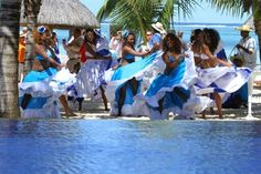 Dancers performing the famous dance in Mauritius,  the sega