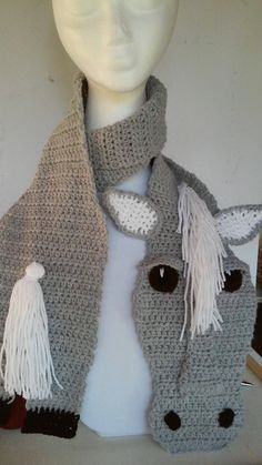 Crochet Horse Scarf light grey body,face. white mane, tail. Animal scarf, dressage, western wear, horse scarf, equestrian gift (SC015) by CardinalMoonCrochet on Etsy