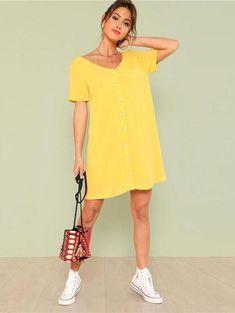 Double V Neckline Shirt Dress #summer #ootd #streetfashion #summerdress #yellowdress #tshirtdress #casualdress #comfydress #loosedress #dresses