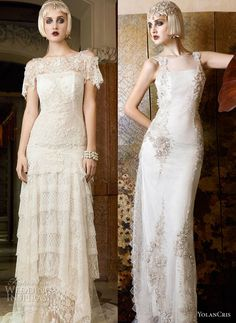 YolanCris 2013 Wedding Dresses Mademoiselle Vintage Bridal Collection. Dress on the right.