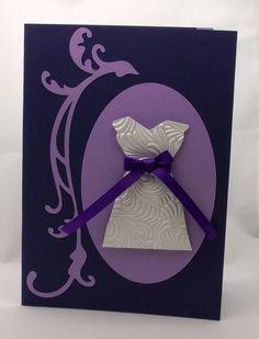 Handmade Greeting Card, Happy Birthday Card, Dress, Women, Purple. $5.00, via Etsy.