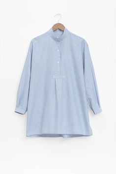 The Short Sleep Shirt in Blue Oxford Stripe