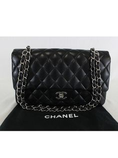 60883abd1064 Authentic CHANEL Black Lambskin Leather Medium Double Flap Shoulder Bag   CHANEL  ShoulderBag