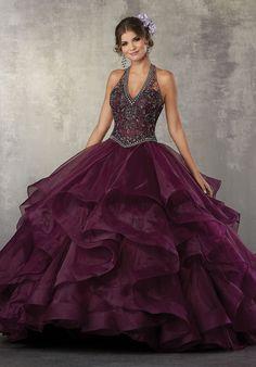 Beaded Halter Quinceanera Dress by Mori Lee Vizcaya 89164