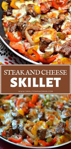 The best recipe for a homemade Sunday weeknight meal! Steak and Cheese Skillet is fabulously delicious and easy. Stir fried steak, onions, and peppers combined in a tangy sauce are layered with cheese for a low-carb dinner menu idea perfect for Sundays! Meat Recipes, Mexican Food Recipes, Dinner Recipes, Cooking Recipes, Healthy Recipes, Low Carb Dinner Meals, Beef Dinner Ideas, Ramen Recipes, Chickpea Recipes