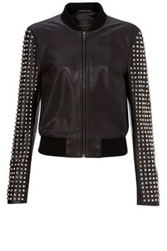 Somehow the studiously arrayed studs on the sleeves of the jacket give it a more tailored look. And the silhouette's cross between biker and baseball makes it fun, fresh and versatile. Women's Let It Be Rock Jacket by French Connection USA