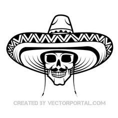 Skull with sombrero.