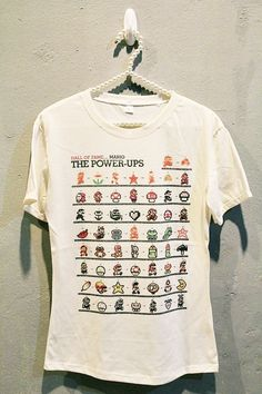 Super Mario T-Shirt Tee Shirt Cute Vintage Game Women T Shirts Off White TShirt Size M