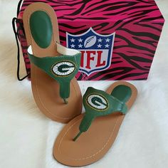NFL Green Bay Packers Thong Sandal Brand new with tags & box. Authentic NFL thong sandal  with rhinestone  Green Bay Packers team colored. Size 8. True to size NFL Shoes Sandals