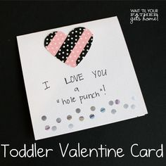 Toddler Valentine Card @ Wait 'Til Your Father Gets Home Give your little one the freedom to color and create and make a sweet card for his grandparents! #valentines #toddler #cards