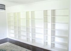Turn IKEA billy bookcases into gorgeous built in bookshelves with these step by step instructions. Bookcase Door, Ikea Billy Bookcase, Built In Bookcase, Bookshelves, Bookshelf Styling, Basement Built Ins, Basement Shelving, Ikea Shelves, Basement Bars