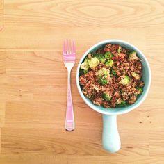 Quinoa salad with broccoli, pinenuts