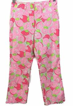 Lilly Pulitzer Capri Pants Size 4 Mango Mama Pink White Green Cotton Stretch #LillyPulitzer #CaprisCropped