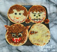 Kitchen Fun With My 3 Sons: Classic Monster Pita Pizza's