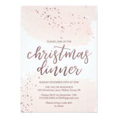 Rose Gold Christmas Dinner Card - christmas cards merry xmas family party holidays cyo diy greeting card