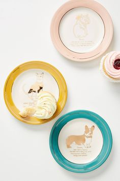 Dog Biography Canape Plate by Anthropologie in Yellow, Dinnerware Love Movie Trailer, Farmhouse Dinnerware, Blue Dinnerware, Anthropologie Home, Side Plates, Canapes, Gods And Goddesses, Petunias, Biography