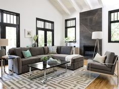 Aspen 2-Piece Chaise Sectional. This grey sofa chaise sectional forms an especially versatile design everyone can appreciate. Featuring flare-arm frame features Kiln-dried 100% solid hardwood construction, smooth grey upholstery and matching accent pillows. See more styles from #CasualLiving #LivingSpaces