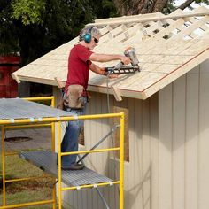 Rent Scaffolding for Shed Roof Construction - DIY Storage Shed Building Tips: http://www.familyhandyman.com/sheds/diy-storage-shed-building-tips#17