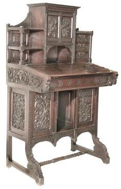 c1880 Aesthetic desk, Cincinnati Art Mvt, 51t,29w, 6-16.