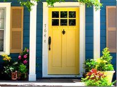 Blue house, white trim, yellow door. I'd do yellow house, white trim & teal door