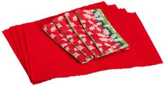 Amazon.com - DII Holly Jolly Linen Set, Includes 4 Tango Red Placemats and 4 Holly Day Napkins - Place Mats #AmazonCart #DII #DesignImports