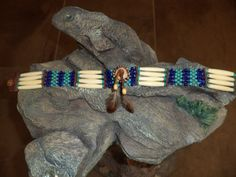Native American Inspired, Antique White Bone Choker, Turquoise and Dark Blue Seed Beads, Rustic Antler Button with Two Feather Drop