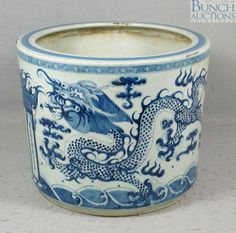 Chinese blue and white ceramic cache pot
