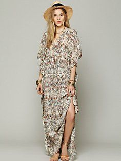 Print Silk Kaftan Maxi in clothes-dresses