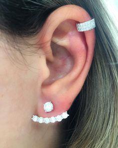 c7981b6105c Ear cuff semi jóia cravejado de zircônias e ear piercing de pressão em prata  925 cravejado