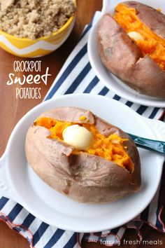 Here's how to make Crockpot Sweet Potatoes! You don't even need to wrap them in foil. Just scrub and pop them in the crock. Presto: perfect sweet potatoes