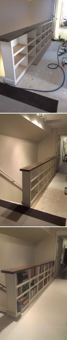 Turn Your Ordinary Attic Stair Railings into Beautiful Built In Bookshelves. Turn Your Ordinary Attic Stair Railings into Beautiful Built In Bookshelves. Attic Renovation, Attic Remodel, Woodworking Projects Diy, Woodworking Plans, Diy Projects, Furniture Projects, Diy Furniture, Attic Stairs, Attic Closet