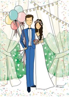 How To Look Your Best On Your Wedding Day. Wedding Drawing, Wedding Painting, Wedding Illustration, Couple Illustration, Wedding Album, Wedding Cards, Wedding Caricature, Happy Birthday Celebration, Origami Paper Art