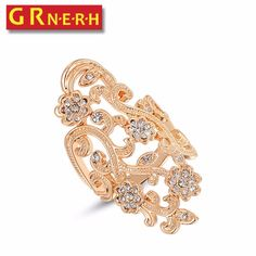 GR.NERH Fashion Hollow Big Ring With Austrian Crystal Gold-color Women Rings Jewelry Wholesale
