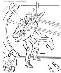 Куи Гон Джинн - скачать и распечатать раскраску. Раскраска Световой меч, лазерный меч, бластер, лазер, фантастика, звездные войны, разукрашка для детей