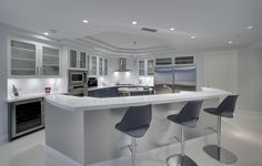 Grey, White & Gray Kitchen Color with Bar Stool, Kitchen Island & White Cabinet and Contemporary Style -  Bar Stools,  Barstools,  Double Fridge,  Wine Storage & Bar