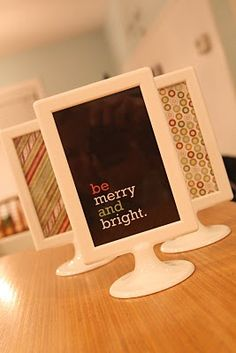 Ikea Frames for Christmas   99 cents ... If no Ikea around, you can easily make them.... A good way to display all those Birthday, Mother's Day, Father's Day, Valentines Day.... cards that are displayed on the table for 10 minutes before they get pushed out of the way or lost in a pile...