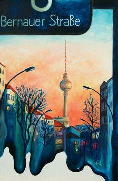 Painting «Blaue Stunde in Berlin» by Nadine Lière, Acrylic on canvas board, 27 x 41 cm, 2016, http://grenadine-art.eu