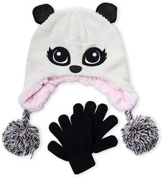 c7b78b49427 Capelli New York (Girls 4-6x) Two-Piece Panda Hat   Gloves