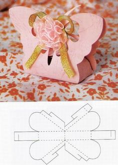 Cute butterfly box, but using other decor. Don't like the fabric flower. Use the template in the image. X