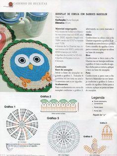 Receitas do Croche Croche!: Sousplat coruja