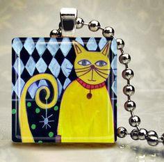 Cat Jewelry Necklace  Yellow cat jewelry by HeatherGallerArt, $28.00