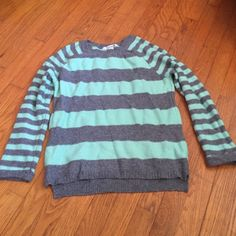 Forever 21 mint grey sweater Cotton knit grey and mint striped sweater from forever 21 Forever 21 Sweaters Crew & Scoop Necks