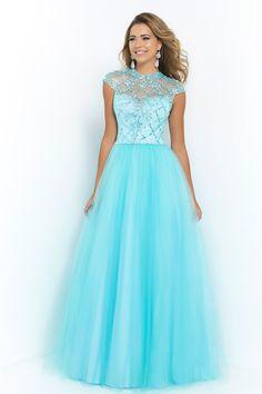 2015 High Neckline A Line Prom Dress Tulle Beaded Bodice Sexy USD 179.99 KKPSADMQEL - KiKiProm.com