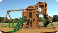 RIDGEFIELD SWING SET PACKAGE 2 BY CREATIVE PLAYTHINGS The Creative Playthings Ridgefield Swing Set Package #2 is a great value with many great features. This Play Set includes a 10' scoop slide, 5'x9' play deck, rock wall, clubhouse with porch, and a 9' 4 position swing beam.