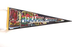 Meramec Caverns Stanton, Missouri Vintage Souvenir Pennant in Black and Neon Colors by planetalissa on Etsy