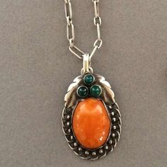 Georg Jensen Pendant With Amber And Chrysoprase No. 23, circa 1919-1927
