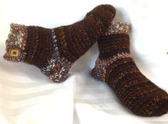 Unisex Slippers Sock Style Handmade Crochet Brown by SewDarnComfy, $22.50