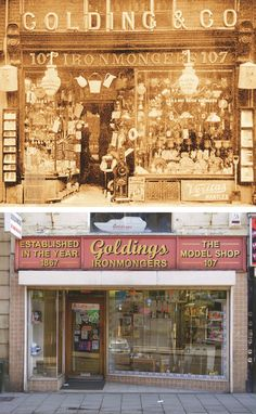 Here is Golding's ironmongers in Bedford in 1906- now the longest surviving High Street business, still trading as a general ironmongers.     The window display at Golding's remains the same in all essentials as  it did a century ago, though now there is a slightly-recessed 1950s shopfront, and a modern steel shutter, which descends when the shop is closed. #UK #history #localhistory