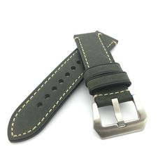 Dark Green Crazy Horse Leather Watch Strap Panerai Style (Steel, 22mm, 24mm) #Unbranded